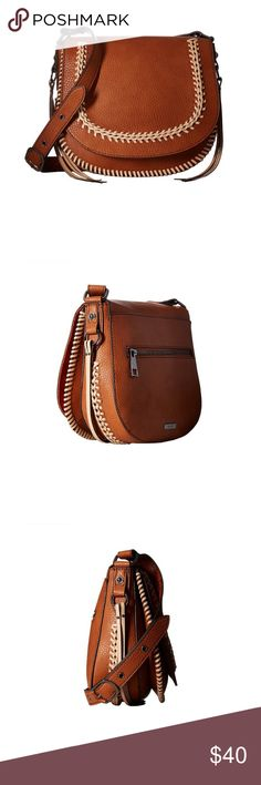 Aldo Miroissi Cognac Crossbody Bag Calling all free spirits, this classic style saddle bag features a fully tassel woven flap, completing this day to night accessory's festival ready appeal! Magnetic snap closure and fringe detail. Hardware is pewter. Aldo Bags Crossbody Bags