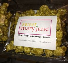 Sweet Mary Jane's Caramel popcorn is soooo yummy!! Sweet and crunchy...it can't really get any better... $9 - 150 mg of activated THC per package Or stock up on a couple indica and sativa packages - 3 for $24
