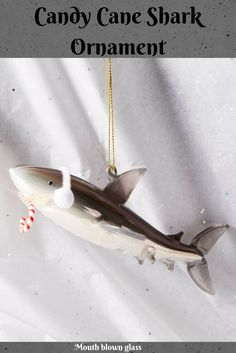 Cute shark ornament with earmuffs and candy cane. Must have a sweet tooth! - #ornament #shark #christmas #holiday #ad #oybpinners