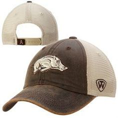5830c3e2c09 Arkansas Razorbacks Top of the World Scat Mesh Trucker Adjustable Hat –  Brown Woo Pig Sooie