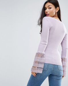 ASOS Sweater With V Neck And Lace Bell Sleeve - Purple