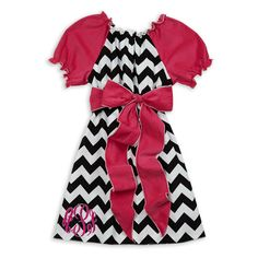 Girls Clothing at Lolly Wolly Doodle.  Black Chevron Hot Pink Corduroy Sash Dress.  lollywollydoodle.com
