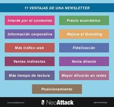Hola: Una infografía con 11 ventajas de una Newsletter. Vía Un saludo