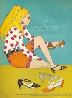 Fashion illustration in Mademoiselle, February 1967
