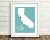 Personalized Wedding Gift  : Custom Wedding Location - State Map Print - 8x10 - California - Gay Wedding Gift - Gift Under 25 Dollars - Cali