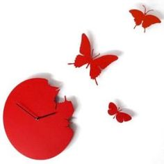 Butterfly Time Fly Wall Clock DIY Art Home Decor Black \  Red \  White
