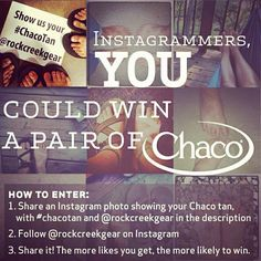 Build up some #chacotan? Share it with us @rockcreekgear ! Winners get some free pairs of #chacos. US only, ends Sept 24th. Details: http://www.rockcreek.com/outdoor/images/instagram/Chacotan_officaltermsinstagram.pdf