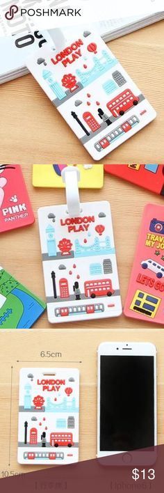 Fun Luggage Tag Luggage Tag Travel Accessories, bright white with blue, red, gray, and black cartoon style 3D print design. Super cute, easy to see from distance making luggage identifying a breeze! Perfect size, 16cm x 6.5cm (see size comparison to iPhone 6, in pics. Phone not included in listing, simply for size comparison only). New in package 😊 Accessories