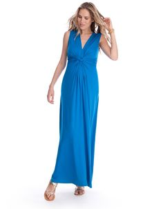 <ul> <li> Knot front detailing </li> <li> V neckline pulls aside for easy nursing </li> <li> Maxi length </li> <li> Soft stretch jersey </li>  </ul>  <p> Now in a stunning shade of turquoise, our signature maternity maxi dress is one of our most flattering dresses for pregnancy. Elegantly knotted at the empire waist, the dress drapes beautifully over your curves to flatter your figure and elongate your silhouette. Offering a flexible fit for every stage, this elegant maternity maxi is a…