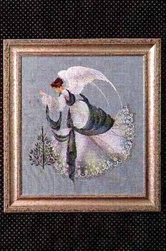 Lavender and Lace Ice Angel - Cross Stitch Pattern. Stitched on 32 count Twilight Blue Linen with DMC floss, Kreinik Blending Filament, Anchor Marlitt (800) (or