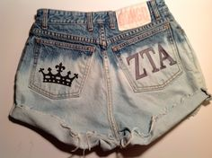 ZTA High Waisted Shorts Crown Print Embroidered Zeta Tau ALpha Size 27 or ANY SIZE. $45.00, via Etsy.