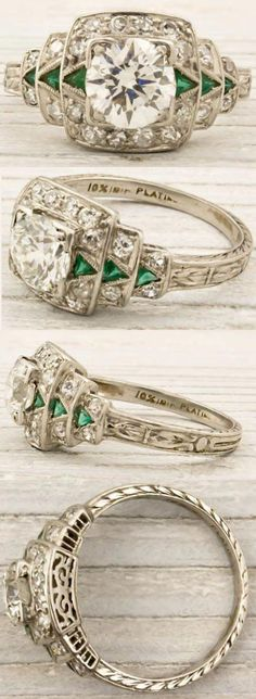 Art Deco engagement ring, circa Featuring a carat (approx) EGL certified old European cut diamond with F-G color and clarity. The center stone is accentuated by a row of triangle cut emerald arrows on ether side, and single cut diamonds all a Art Deco Schmuck, Bijoux Art Nouveau, Schmuck Design, Art Deco Jewelry, Fine Jewelry, Jewelry Design, Black Jewelry, Deco Engagement Ring, Antique Engagement Rings