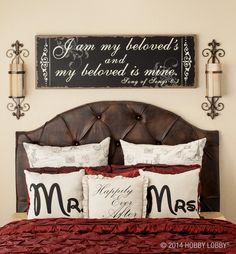"Looking for a wedding or anniversary gift?  Go for sweet and thoughtful with ""Mr. & Mrs."" and ""Happily ever after"" pillows or ""I am my beloved'"" wall art."