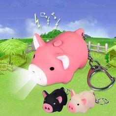 漫画少し豚デザインledキーホルダー付きサウンド懐中電灯子供緊急トーチ動物豚キーリング卸売