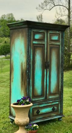 Boho Armoire Farmouse Painted Wardrobe Old World Media Console Shabby Ch. Boho Armoire Farmouse Painted Wardrobe Old World Media Console Shabby Chic Storage Cabinet French Country Hutch - Distressed Furniture, Funky Furniture, Refurbished Furniture, Paint Furniture, Shabby Chic Furniture, Furniture Projects, Furniture Makeover, Rustic Furniture, Antique Furniture