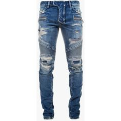 Balmain - Slim-fit distressed stretch cotton denim biker jeans - Men's... ($1,880) ❤ liked on Polyvore featuring mens, men's clothing, men's jeans and pants
