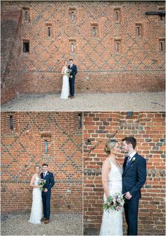 bride in jenny packham long dress and groom in navy suit, naturally posing infront of barn wall infront. Copdock Hall barn suffolk, Rebecca Prigmore Photography