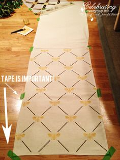 How to Make a Custom Stenciled Table Runner from a Drop Cloth!    For a wall?