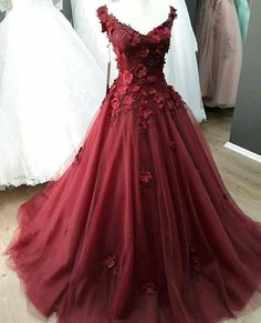 New Arrival Burgundy Tulle 3 D Flowers Long Prom Dresses Cheap Women Party Gowns Custom Made Quinceanera Dresses Pretty Quinceanera Dresses, Red Wedding Dresses, Luxury Wedding Dress, Cheap Prom Dresses, 15 Dresses, Homecoming Dresses, Evening Dresses, Fashion Dresses, Pageant Dresses