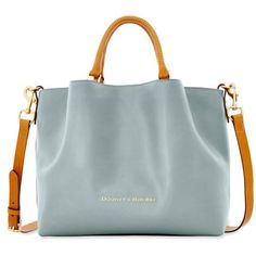 Dooney  Bourke Ice Blue City Leather Large Barlow Satchel ($368) ❤ liked on Polyvore featuring bags, handbags, ice blue, green purse, dooney bourke handbags, satchel purses, bucket purse and leather satchel handbags