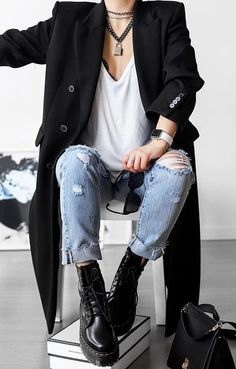Edgy Outfits, Mode Outfits, Fashion Outfits, Womens Fashion, Looks Style, Casual Looks, Fall Winter Outfits, Autumn Winter Fashion, Looks Black