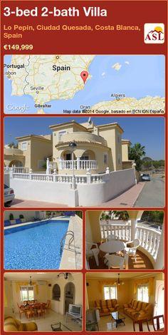 3-bed 2-bath Villa in Lo Pepin, Ciudad Quesada, Costa Blanca, Spain ►€149,999 #PropertyForSaleInSpain