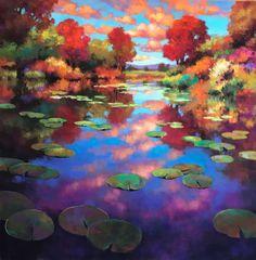 Colorful Paintings, Cool Paintings, Beautiful Paintings, Landscape Art, Landscape Paintings, Forest Mural, Caribbean Art, Seascape Art, Sunset Art