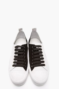 ANN DEMEULEMEESTER Grey Bi-Color Suede Low-Top Sneakers