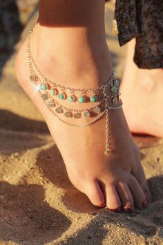 Boho chic foot chain, Boho Jewelry, Turquoise Jewelry, Sterling Silver Jewelry, Body Chain, Bohemian Chain, Gypsy Jewels, Anklet by DonBiuSilver on Etsy https://www.etsy.com/listing/238625283/boho-chic-foot-chain-boho-jewelry