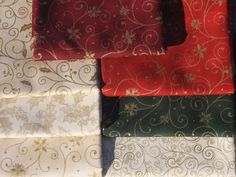 Holiday Accent Christmas Poinsettia Gold Cream Green Red 8 Fat Quarters FQ  #RJRFabrics