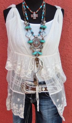 COWGIRLS UNTAMED TOP - Custom Cowgirl Gypsy Cream Sheer Lace Tiered Western Vest with Rhinestones & FREE Tank Top