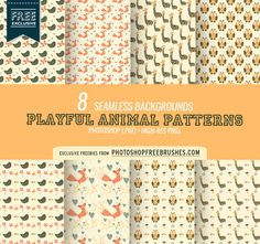 Cute Animal Pattern Backgrounds | Free PS Brushes and Patterns