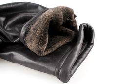 Smart Slim Warm Black Faux Leather Faux Fur Lined Leggings B173