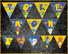 Pokemon Banner Bunting, Etsy Store, Banners, Vibrant Colors, Card Stock, My Design, Pokemon, Quilts, Inspired