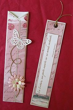 Put this on a card front. Creative Bookmarks, Cute Bookmarks, Paper Bookmarks, Bookmark Craft, Beaded Bookmarks, Corner Bookmarks, Homemade Bookmarks, Little Presents, Book Markers