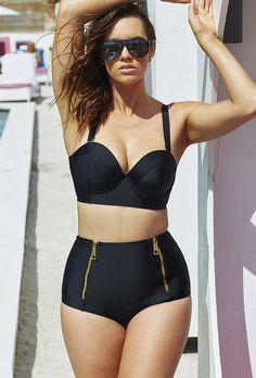 High waists dont work on me but OMG I want this!!! - #GabiFresh D/DD Black Underwire Mid-Waist Bikini