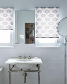 Clic Roller Shades In 15836 Medallion Plum Bathroom Decor