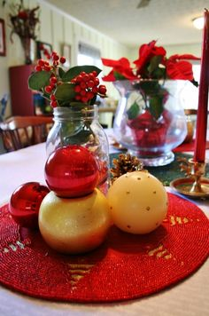 A holiday table setting using mostly items I have.