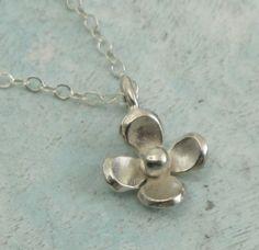 Petite Flower Necklace  sterling silver by KathrynRiechert on Etsy, $26.00