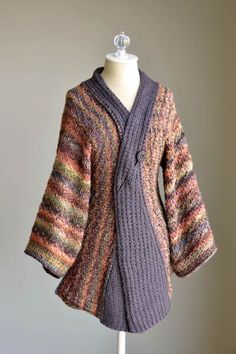 Free knitting pattern for Reika Kimono Cardigan - Amy Gunderson designed this Japanese inspired jacket. Great for multi-color yarn! Small (Medium, Large, 1X, 2X)