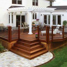 beautiful backyard deck with square design ., - beautiful backyard deck with square design …, - Deck Stairs, Deck Railings, Stair Railing, Backyard Patio Designs, Pergola Patio, Patio Ideas, Cozy Backyard, Pergola Ideas, Pergola Kits