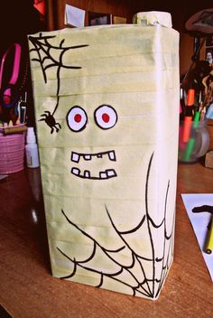 #orange #juice #DIY #halloween #mummy #paper #tape #drink #food