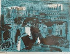 yama-bato: John Piper King's College, Cambridge, from Trinity Landscape Illustration, Illustration Art, John Piper Artist, King's College, Urban Art, New Art, Printmaking, Cool Art, Drawings