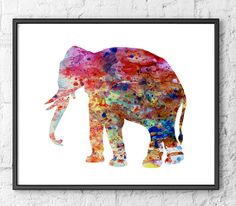 Watercolor print  Elephant painting