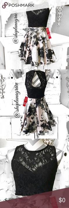 """New🌸2-Piece Top & Skirt Black lace lined cups crop top that zips up the back with keyhole closure. Beautiful skirt in shades of blacks, grays & soft pink floral print. The skirt is 3 layers. Zips down the back. Bust measures 17.5"""" armhole to armhole & is 15"""" from shoulder to bottom. Skirt is 17.5"""" from waist to hem & waist measures 14"""" across laying flat. Mannequin measurements are 35 25 35, waist was a bit big on the mannequin. Dry clean only. NWT City Triangles Skirts Skirt Sets"""