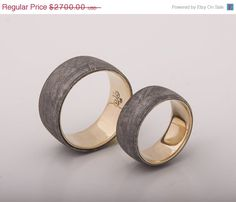 ON SALE 5 % OFF yellow gold meteorite rings set by titaniumbands