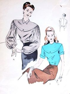1940s Beautiful Blouse Pattern Vogue 5665 Lovely Deep Dropped Shoulder Yoke,Full Bishop Sleeves or Short Turned Back Cuffs Bust 30 Vintage Sewing Pattern