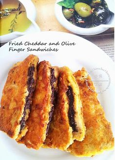 Fried Cheddar and Olive Finger Sandwiches