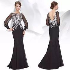vestido de festa preto. detalhe: renda branca. ever-pretty.