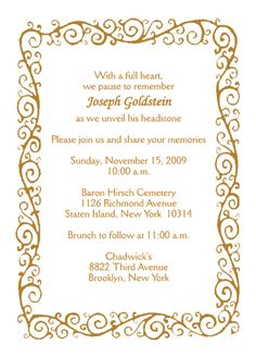 free tombstone unveiling invitation cards templates Google Search